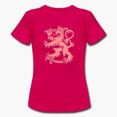 """Finnish lion goes pink. Pinkki Suomen leijona hotpink-pohjalla. Vähän erilainen leijonapaita. https://shop.spreadshirt.fi/revolt-noir/""""leijona""""-A106381374?appearance=321"""
