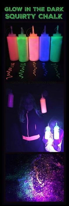Chalk Recipe GOT 5 MINUTES? Make this and blow the kids away! (Glow in the dark chalk paint)GOT 5 MINUTES? Make this and blow the kids away! (Glow in the dark chalk paint) Neon Birthday, 13th Birthday Parties, Sweet 16th Birthday Ideas, 12th Birthday, Party Fiesta, Festa Party, Glow In Dark Party, Black Light Party Ideas, Glow Stick Party