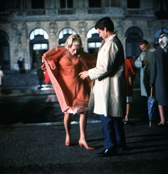 Catherine Deneuve and Nino Castelnuovo in Les parapluies de Cherbourg directed by Jacques Demy, 1964. Photo by Leo Weisse