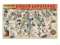 Greetings From Finger Lakes, New York View - Vintage Halftone Giclee Art Print, Gallery Framed, White Wood), Multi Seneca Lake, Finger Lakes, I Love Ny, Poster Prints, Art Prints, Vintage Greeting Cards, Map Art, Custom Posters, Vintage World Maps
