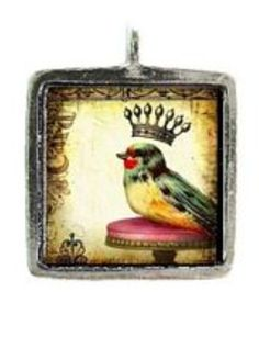Vintage Bird w/Crown Pewter Pendant - I think little birds with crowns are so sweet looking! Creative Artwork, Vintage Birds, Little Birds, Pewter, Picture Frames, Pendants, Hummingbird, Crowns, Pictures