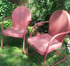 Vintage Metal Lawn Chairs Furniture Retro by 3vintagehearts, $150.00