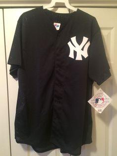 VTG 90s New York YANKEES Sewn L Jersey Made USA Mesh Blank Navy MLB Baseball New #Majestic #NewYorkYankees