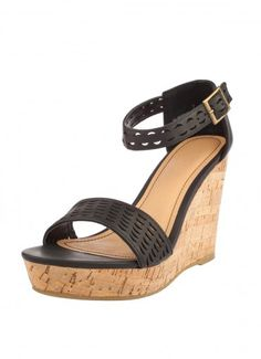 Crescent Cutout Wedges Black at Prima donna