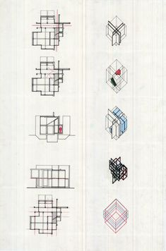 Artistic-Archi by Qiong He 2009: Project 1---The example of Peter Eisenman's axonometric drawings and grid-analysis