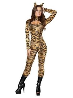 Sexy Tiger Costume for Women Adult Cat Suit Halloween Fancy Dress  sc 1 st  Pinterest & Sheu0027s on the prowl! Leg Avenue Wild Tigress Adult Halloween Costume ...