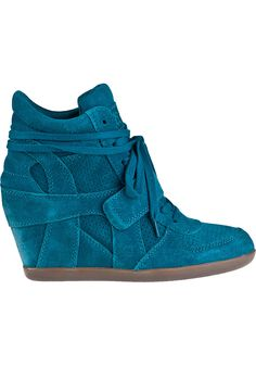 Teal suede sneaker wedge...must-have for fall!