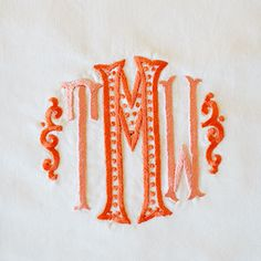 Walker Valentine Monograms - love this whimsical look for kid pillows Monogram Towels, Embroidery Monogram, Embroidery Applique, Machine Embroidery, Embroidery Designs, Monogram Design, Monogram Styles, Monogram Fonts, Monogram Letters
