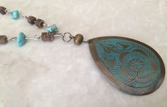 Turquoise and Copper Beaded Necklace Native by RedWillowCreations