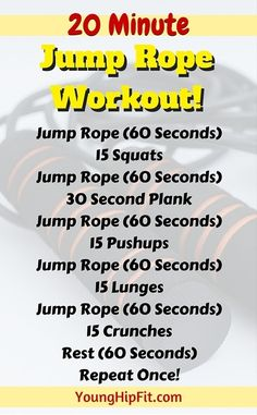 Jump rope workout that takes just 20 minutes! Burn calories fast and add lean muscle tone to your legs, abs, and upper body. Find out everything you need to know about this 20 minute jump rope workout here.