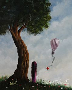Message To Heaven ORIGINAL PAINTING erback art Girl Child Tree Landscape Whimsical surreal