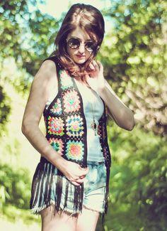ponto arroz: Colete Granny Squares Hippi vest free pattern