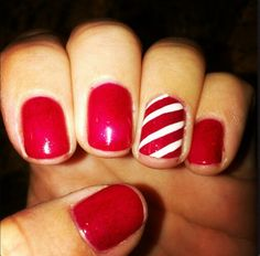 Holiday nails, Red gelish and white stripes