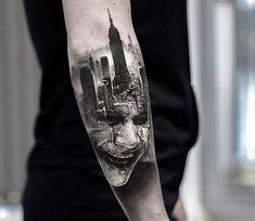 The Joker Tattoo by Adrian Lindell .- Das Joker Tattoo von Adrian Lindell The Joker Tattoo by Adrian Lindell - Wolf Tattoos, Movie Tattoos, Elephant Tattoos, Feather Tattoos, Disney Tattoos, Forearm Tattoos, Finger Tattoos, Body Art Tattoos, Sleeve Tattoos