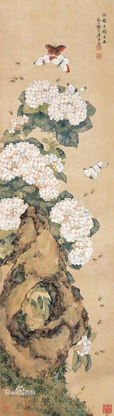 清代 - 居廉 花卉 Ju Lian (1828-1904) was a Chinese painter in Qing Dynasty. His courtesy name was 'Ancient Spring' (Gu Quan 古泉).