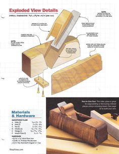 Woodtools - Журналы - ShopNotes # 114 Woodworking Hand Planes, Woodworking Jigs, Woodworking Projects, Homemade Tools, Diy Tools, Lumberjack Tools, Wooden Plane, Japanese Woodworking, Wood Chest