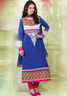 Blue And Multicoloured Long Chanderi Designer suits http://alicolors.com/index.php?route=product/category&path=102