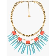 Turquoise Canyon Necklace ($30) ❤ liked on Polyvore featuring jewelry, necklaces, bib statement necklace, turquoise jewelry, adjustable necklace, green turquoise jewelry and blue turquoise necklace