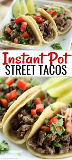 INSTANT POT STREET TACOS Are you looking for a quick and easy recipe for those busy weeknights? These carne asade street tacos are simple to make and the entire family will love the amazing flavor and tender steak. Your family is going to love this delic Carne Asada, Beef Recipes, Mexican Food Recipes, Cooking Recipes, Healthy Recipes, Chicken Recipes, Healthy Food, Meatloaf Recipes, Yummy Food