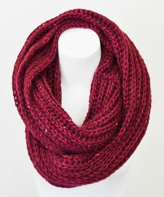 Take a look at this Leto Collection Burgundy Sequin Infinity Scarf on zulily today!