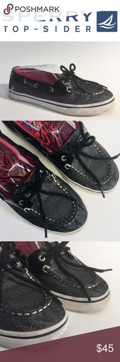SPERRY⛵️biscayne black sparkle dock shoes Sz 5 Like new! Worn once or twice. 💗🖤Sperry Top Sider Biscayne Dock shoes in black glitter with black patent leather trim and black laces. Pink zebra print inside. So fun! White soles and trim.  Size 5 Bundles are only 2 items! Check out my closet, filter by your size, bundle up and make an offer! There's something for everyone! Sperry Shoes Flats & Loafers