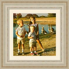 Three Children And Geese At Gibson Ranch Framed Print By Shelly Weingart