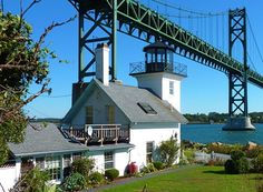 Bristol Ferry light, Mount Hope Bridge, Bristol, RI #VisitRhode Island, #SoRI, #SoNElighthouse