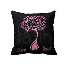 Pink Ribbon Tree Breast Cancer Awareness Pillow