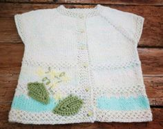 Blue White Baby Boy Hand Knitted Vest 12-18m Cute by SvetlanaVP