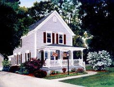 House Portrait Painting in Acrylic by CarolsCountrySeasons on Etsy