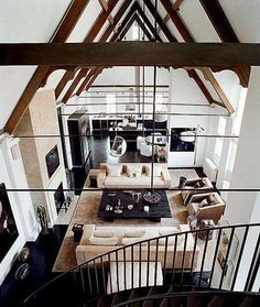 Not my style, but I do love the high ceilings in the living room.