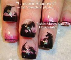 Pink & black Unicorn nails!!! Love love!!