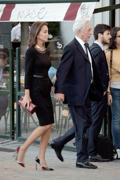 Mario Vargas Llosa and Isabel Preysler Sighting In Madrid - September 22, 2015
