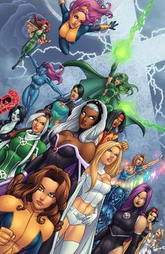 X-Women fanart // I can name all of them  100% surely except for the blue girl on the left and the girl to the right of her. Its possible that is a weird adaptation of Mystique and I think the one to the right of her is Karma.