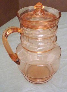 1929 Pink Glass Lemonade or Water Pitcher   Dunbar Flint Glass Co