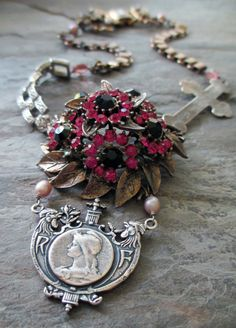 REPUBLIQUE FRANCAISE  vintage assemblage necklace by The French Circus, $187.00