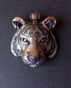 Tiger pendant handmade polymer clay by ClaymanPL on Etsy