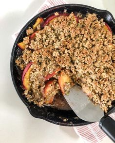 Paleo Peach Cobbler - This Crumble Is Everything - Rachael's Good Eats Paleo Sweets, Paleo Dessert, Healthy Dessert Recipes, Paleo Recipes, New Recipes, Paleo Food, Paleo Diet, Paleo Peach Cobbler, Peach Crumble