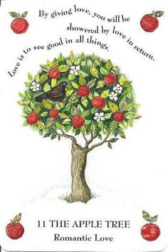 painting by Jean Benner  Today I will be looking at the Apple Blossom Flower . 'Look up' Look up, look up, at any tree! Apple Blossom Flower, Magical Tree, Celtic Tree, Apple Tree, Book Of Shadows, Tree Art, Crafts, Paganism, Magick Spells