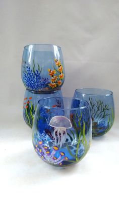 Ocean stemless wine glasses Hand Painted Set of 4 by HiMaria