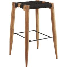 """<span class=""""copyHeader"""">learn the ropes.</span> Tribal-inspired stool pulls up to the bar in eco-friendly materials. Natural black-dyed jute rope warps/wefts varying tones over open frame handcrafted of solid sustainable acacia wood. Frame flows continuous to base via mortise and tenon joinery on rounded legs that taper to a pencil-fine point. Iron brace at center nods to modern industry. Learn more about <a rel=""""external""""…"""