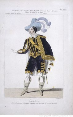 Costume design for tenor Adolphe Nourrit's role of Don Juan in Mozart's opera Don Giovanni. Coloured etching, by Louis Maleuvre, 1834, Bibliothèque nationale de France