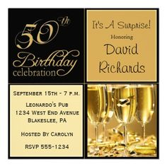 Gold And Black Surprise 50th Birthday Party Invitation With Champagne Glasses Ribbon Tiny