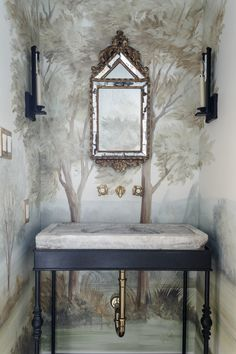 Magnificent bathroom design by Lauren Haskett with pastel landscape mural wallpaper made from original painting by Susan Harter. Muted and sophisticated colors in this beautifully inspiring interior design. Bathroom Wallpaper, Of Wallpaper, Bathroom Mural, Wallpaper Ideas, Bathroom Ideas, Mirror Bathroom, Trendy Wallpaper, Modern Bathroom, Master Bathroom