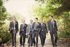 Groom and groomsmen - mismatched charcoal gray suits and black ties