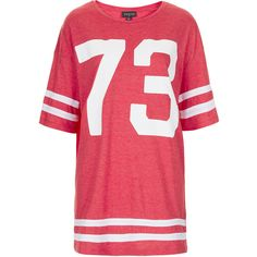 TOPSHOP 73 Number Tee ($40) ❤ liked on Polyvore featuring tops, t-shirts, dresses, tees, red, oversized tee, oversized tops, oversized t shirts, polyester t shirts and topshop tops