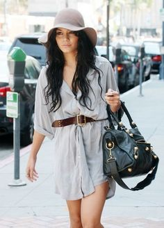 Fall fashion : mens shirt as a dress, belt, oversized bag & hat. love how Vanessa Hudgens puts her outfits together Look Fashion, Autumn Fashion, Fashion Outfits, Fashion Hats, Street Fashion, Spring Fashion, Vanessa Hudgens Style, Summer Outfits, Cute Outfits