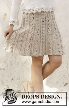 Cable waterfall / DROPS - free knitting patterns by DROPS design Knitted skirt in DROPS Cotton Light. The piece is worked from top to bottom with a cable and lace pattern. Lace Patterns, Knitting Patterns Free, Free Knitting, Crochet Patterns, Drops Design, Knit Skirt, Knit Dress, Drops Cotton Light, Skirt Pattern Free