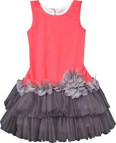 Isobella & Chloe Girls Plie Sleeveless Tutu Dress - Dark Gray / Coral