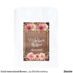 Shop Coral watercolored flowers bridal shower brown favor bag created by EllenMariesParty. Country Style Wedding, Boho Wedding, Rustic Wedding, Dahlia Flower, Flowers, Wine Favors, Wedding Favor Bags, Bridal Shower Favors, Wedding Designs